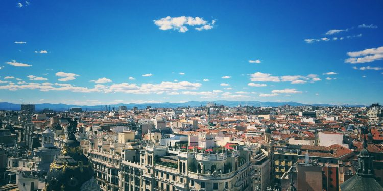 Madrid in spain with blue sky
