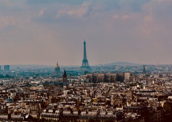 Paris city skyline with