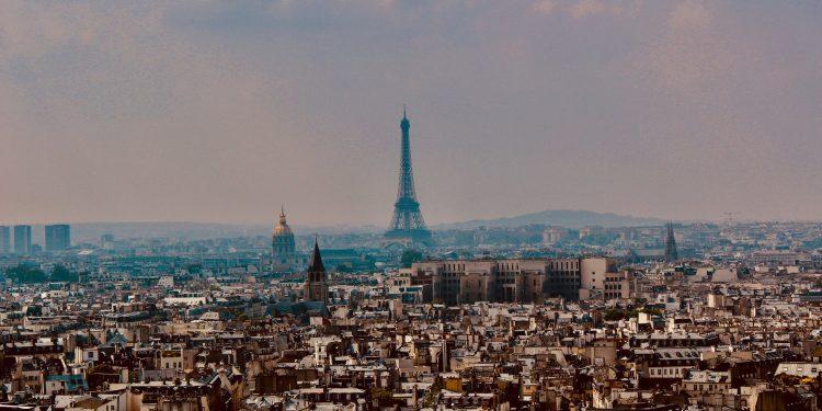 Paris city skyline with Eiffel tower