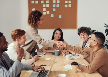 Clients working together in an office space