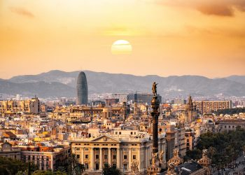 Barcelona skyline in the evening