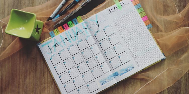 A written calendar with colors